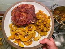 Spiced pork chops with delicata squash and apple chutney