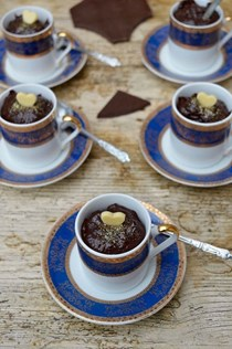 Spiced prune chocolate pots with Amaretto