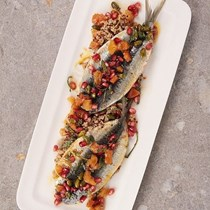 Spiced sardine fillets with Moroccan relish and jewelled quinoa