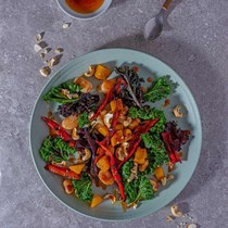 Spiced squash, butter bean and kale salad