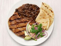 Spicy pork chops with black beans
