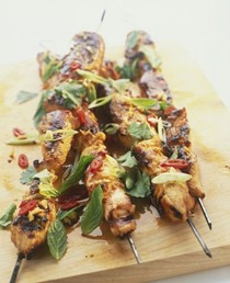 Spicy pork satay