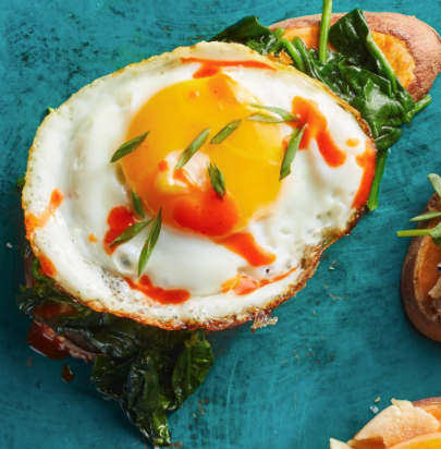 Spinach & egg sweet potato toast