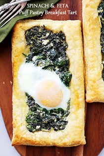 Spinach and feta puff pastry breakfast tart