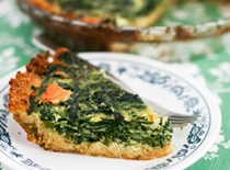Spinach asparagus smoked salmon quiche with a crumb crust