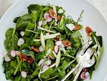 Spinach salad with spiced pecans, lamb bacon, Clemson blue cheese and bourbon vinaigrette