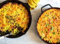 Spring onion and cheese potato cake, two ways: red pepper and harissa filling
