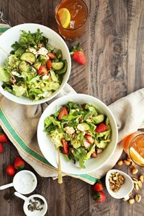 Spring strawberry salad with cucumber and feta