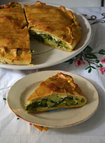 Spring vegetable and cheese tart
