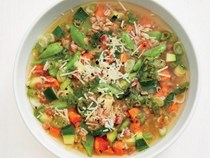 Spring vegetable-farro soup