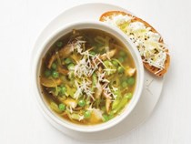Spring vegetable soup with ricotta toast