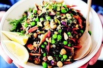 Sprouted wild rice with pistachios and spring vegetables
