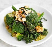 Sprouting broccoli, green romesco & almonds