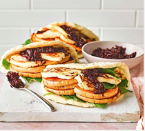 Squash & halloumi flatbreads with sweet chilli beetroot jam