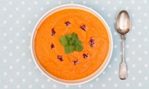 Squash and red lentil soup with coriander and smoked paprika