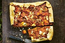 Squash, lentil, tomato and rosemary pie