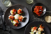 Squash manti with gochujang onions