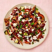Squash salad with tahini and pomegranate