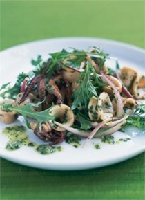 Squid salad with lime, cilantro, mint and mizuna