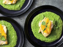 Steamed cod with watercress-orange sauce