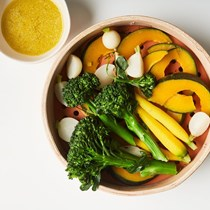 Steamed vegetables with miso-ginger dressing