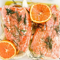 Steelhead trout with fennel and cara cara oranges