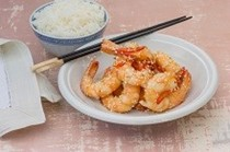 Stir-fried ginger and honey prawns