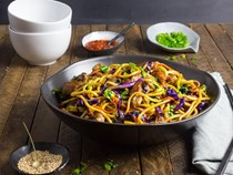 Stir-fried lo mein noodles with pork and vegetables