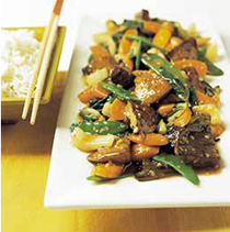 Stir-fried portobellos with ginger-oyster sauce
