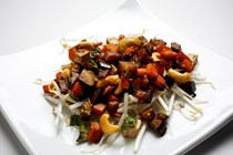 Stir-fry of eggplant, sweet potato and cashew nuts with tofu