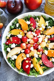Stone fruit kale salad