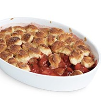 Strawberry-rhubarb cobbler with honey