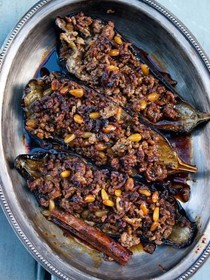 Stuffed aubergine with lamb & pine nuts