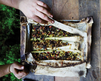 Stuffed leeks with blue cheese, raisins, and almonds