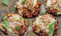 Stuffed portobello with melting Taleggio