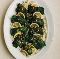 Stuffed Swiss chard with creamy orzo