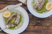 Summer sausages with pea & pesto mash