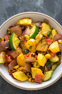 Summer squash green chile stir fry