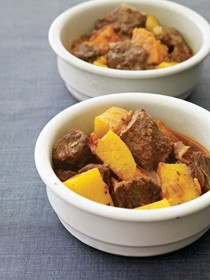 Sunday beef stew with sweet potatoes and rutabaga