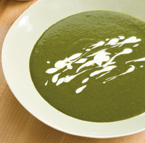Super-greens soup with lemon-tarragon cream
