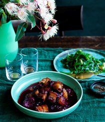 Sweet and sour pork with Davidson's plums