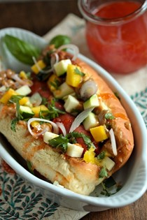 Sweet chili Thai peanut hot dog