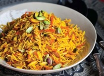 Sweet rice with carrots and rice (Shirin polo)