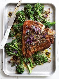 T-bone steaks with nori sesame butter and broccolini