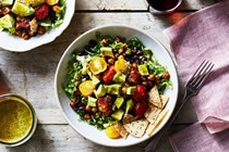 Taco salad with crunchy chickpeas, roasted tomatoes & cilantro vinaigrette