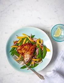 Tamarind-glazed tuna with sugar snap and mango salad