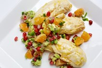 Tangerine poached chicken with clementine-pomegranate relish
