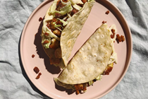 Tempeh tacos with cashew-cabbage slaw