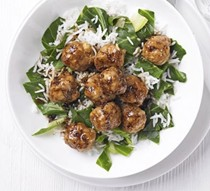 Teriyaki chicken meatballs with rice & greens