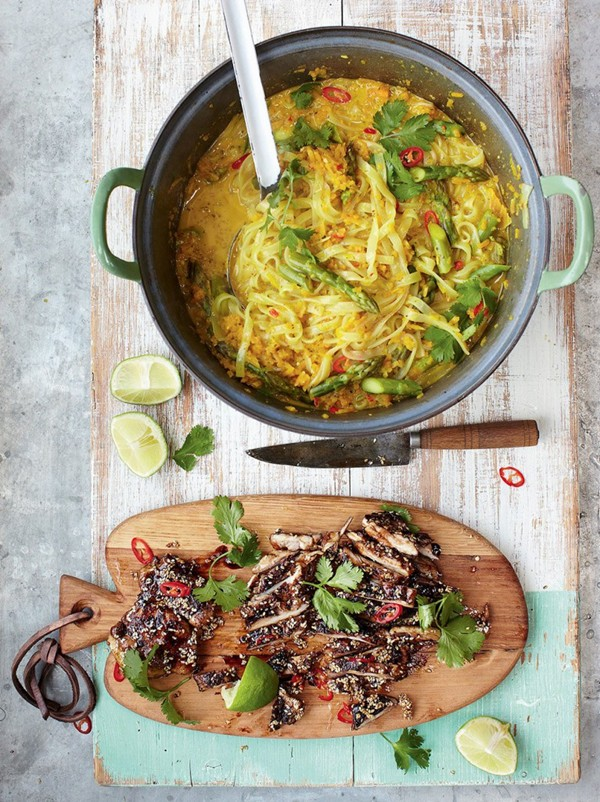 Thai chicken laksa, mildly spiced noodle squash broth